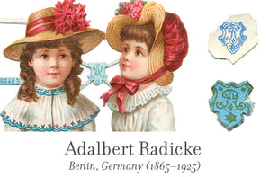 Adalbert Radicke scrap reliefs publisher's mark, Berlin, Germany