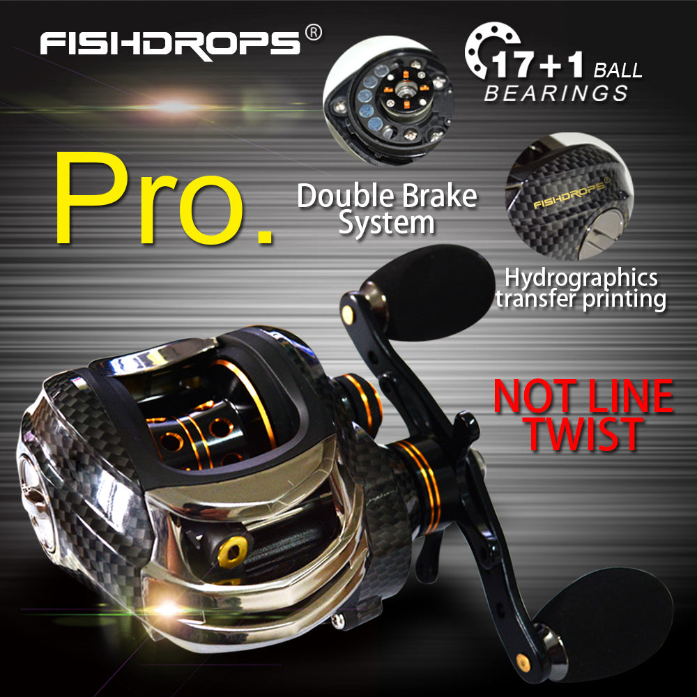 Fishdrops 17+1BB Baitcasting Fishing Reel 7.0:1 Bait Casting Reels Left / Right Hand Reel with One Way Clutch Fish Pesca Reel