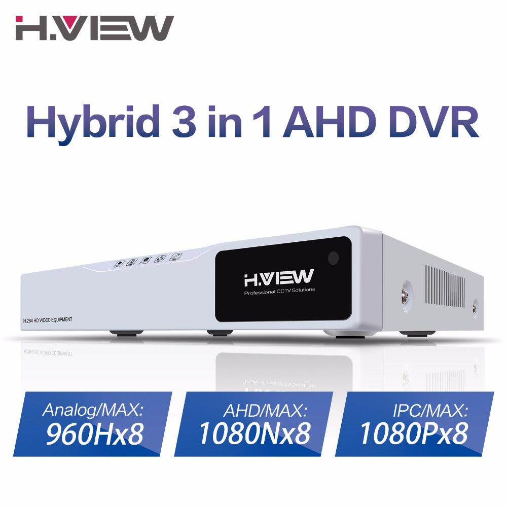 H.VIEW CCTV DVR 8ch H.264 AHD DVR NVR 8ch Digital Video Recorder for CCTV 1080P HDMI Video Output Support Analog AHD IP Camera