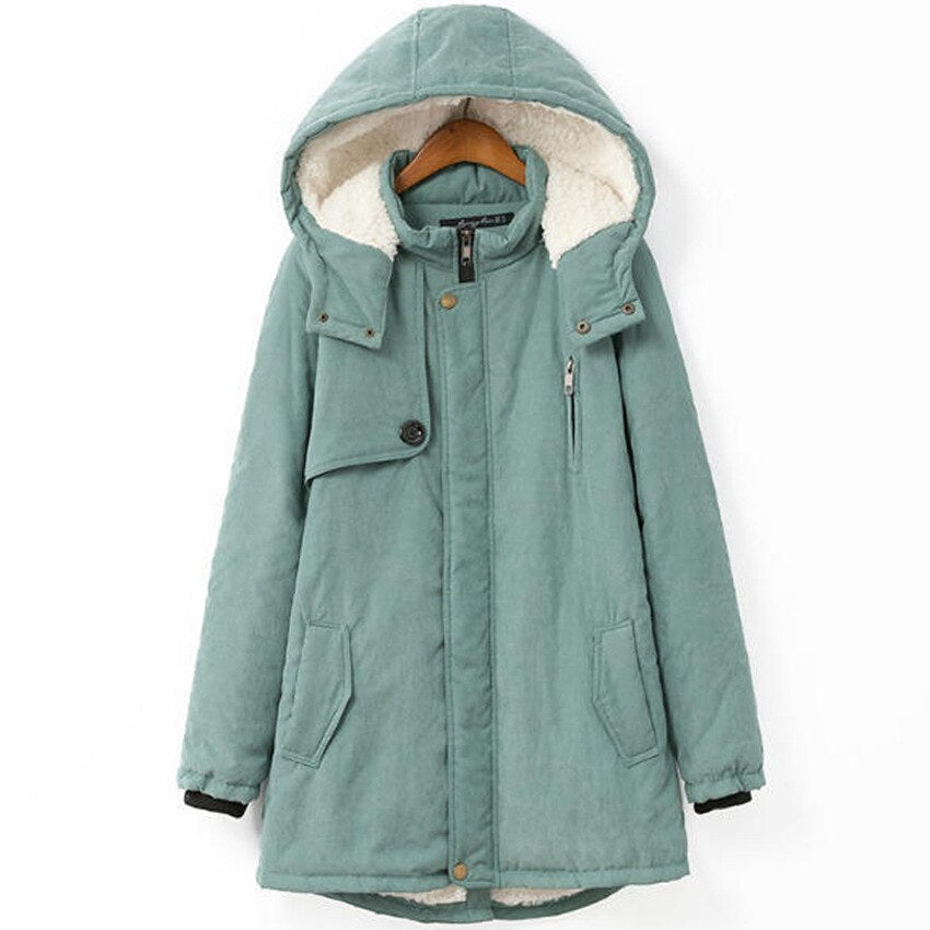 woman parkas pockets plus size winter warm long cute zipper hooded thick female long sleeve parkas pink coat
