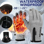 Outdoor Waterproof  Warm Riding Mountain Ski All-finger Zipper Movement Plus Velvet Gloves