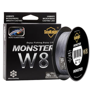 SeaKnight 500M MONSTER W8 Braided Fishing Line 8 Strands Japan PE Fishing Line Multifilament Braided Line 20 30 40 50 80 100LB