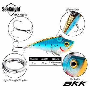 SeaKnight SK027 VIB Sinking Fishing Lure 1PC 70mm 21g Artificial Bait Full Swimming Layer Wobblers 3D Fish Eyes With BKK Hooks