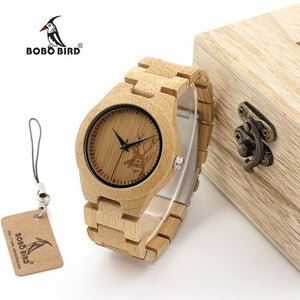 Woody Patented Low Price Hot Selling All Bamboo BOBO Bird Watch Wood Table Deer Head All Bamboo Table MEN'S Watch Women's