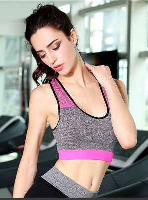 High Intensity Sports Bra Vest Seamless Stretchy Breathable Fitness Underwear for Fitness Gym Yoga Running - Free Size