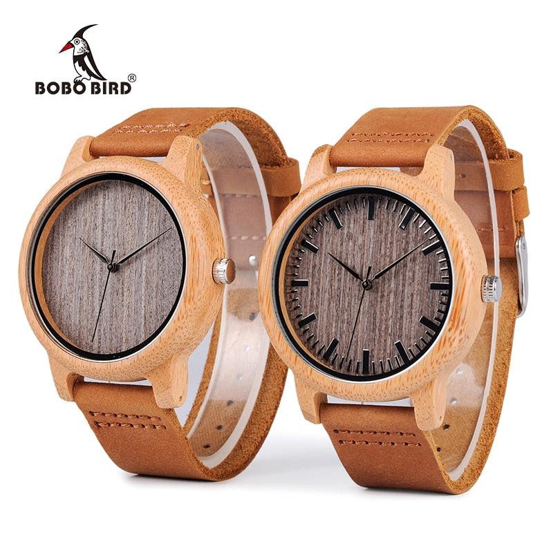 BOBO BIRD WA18L10 Vintage Lightweight Round Bamboo Wood Quartz Watches With Leather Bands for Women Men watches top brand design