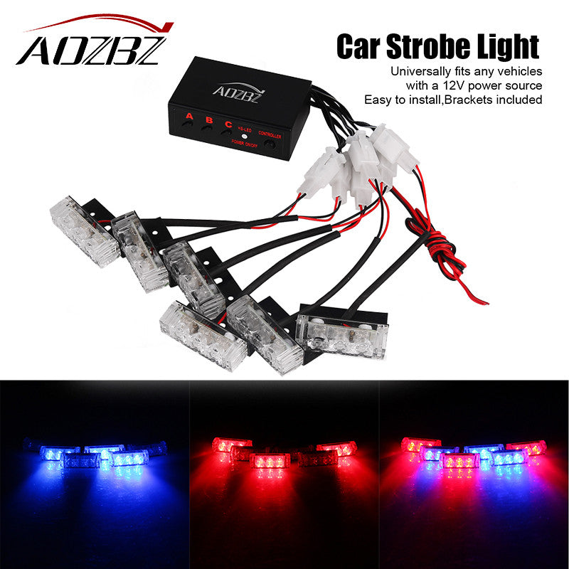 AOZBZ 6X3 LED Flashing Mini Emergency Vehicle LED Warning Lights Waterproof Car Truck Strobe Strobe Flash Warning Light Boat