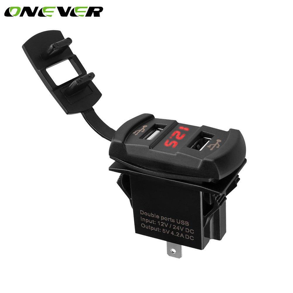 Onever Universal 2 USB Car Charger With Voltmeter Socket Adapter For Motorcycle/Boat/Riding Mower/Tractor 12-24V Smart Charging