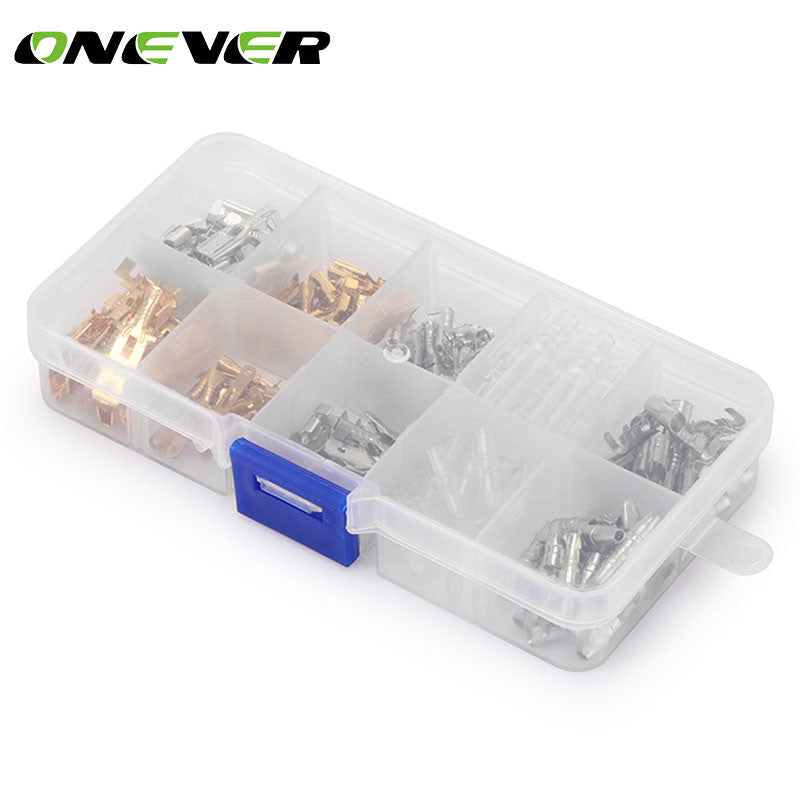 Onever 150pcs 6.3MM 2.8MM 4.8MM 4.0MM Male and Female Car Spade Connector Splice Crimp Wire Terminals Assortment Kit