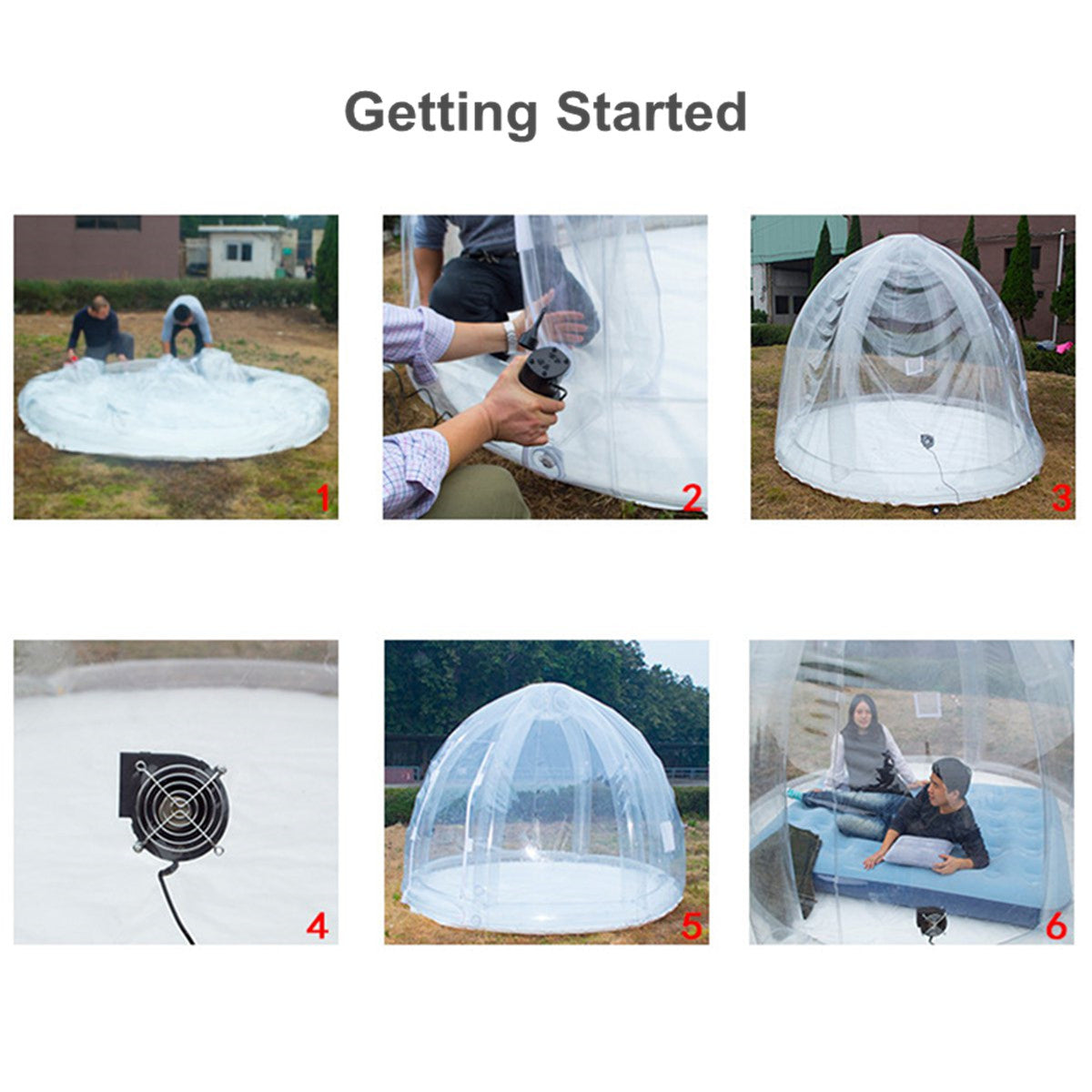 3m Luxury Inflatable Bubble Tent Waterproof Outdoor Camping Stargazing Airblower