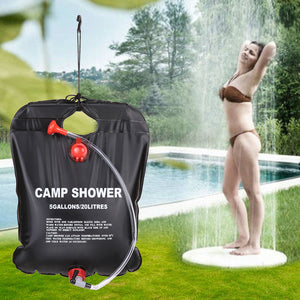 20L Camping Hiking Solar Heated Camp Shower Bag Outdoor Shower Water Bag