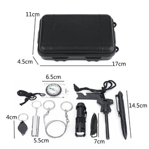 9 in 1 SOS Emergency Camping Survival Equipment Kit Camping Tactical Gear Tool