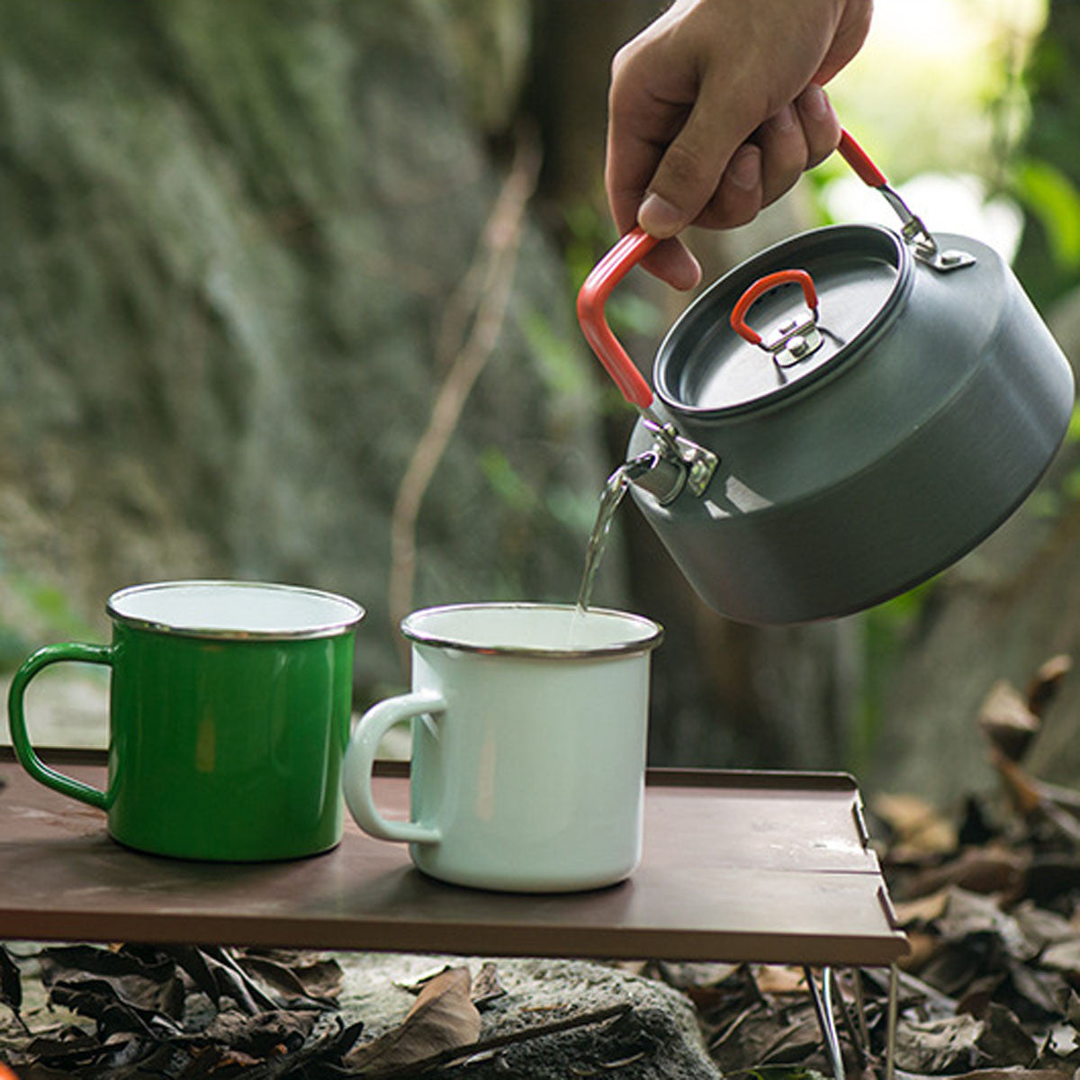 1.1L Portable Camp Kettle Teapot Campfire Outdoor Camping Picnic Hiking BBQ Pot