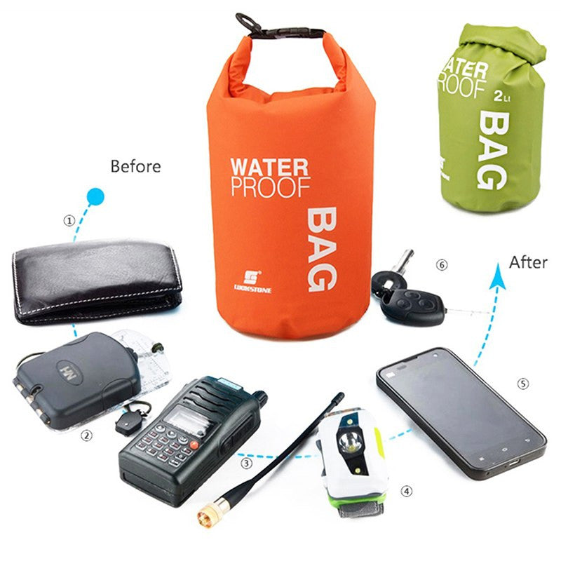 waterproof box 2L Camping hiking PVC waterbag waterproof bag Outdoor Traveling Ultralight Rafting Bag Camping Dry Bags