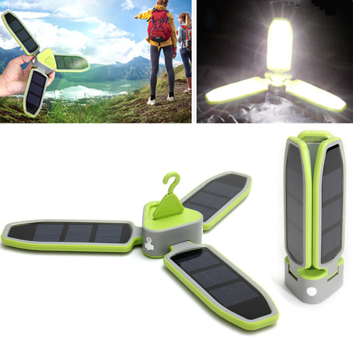 Folding LED Camping Tent Light Solar Power Hanging Outdoor Camping Hiking Lamp