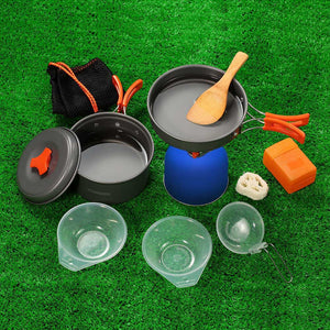 TOMSHOO Outdoor Camping Hiking Cookware with Mini Camping Piezoelectric Ignition Stove Backpacking Cooking Picnic Pot Stove Set