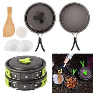 Backpacksing Cook Stove set Outdoor Camping Hiking Cookware With Mini Camping Piezoelectric Ignition Stove