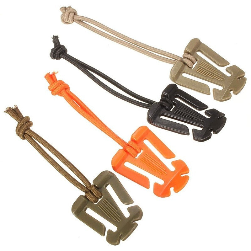 10pcs MOLLE Webbing Tactical Cord Clips Buckle Elastic Tie down Strap Carabiner