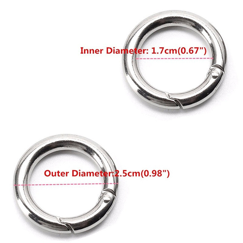 Portable Mini Circle Carabiner Spring Clip Hook Keychain Outdoor 25mm