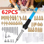 62Pcs 60W 110V/220V Electric Soldering Iron Wood Burning Pen Tip Kit Pyrography Craft Tool US/EU Plug 6 Stencil Set Woodworking