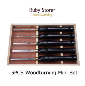 5PCS Mini HSS Woodturning Chisel Set Black Walnut Handle in a Wooden Box