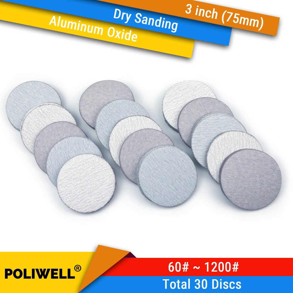 30PCS 3 Inch(75mm) Aluminum Oxide Hook&Loop White Dry Sanding Discs for Woodturning Rotary Power Tools Polishing Accessories