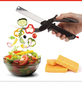 Clever Food Cutter Scissors 2 in 1 Knife & Cutting Board
