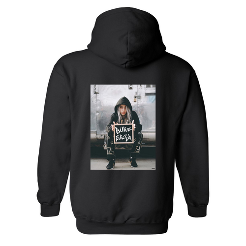 Billie Eilish Black & White Design Unisex Hooded Sweatshirt