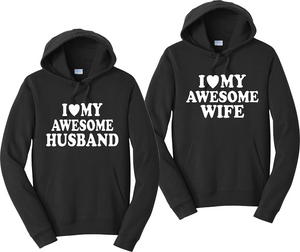 I love my Awesome Husband / Wife  Unisex Hooded Sweatshirt