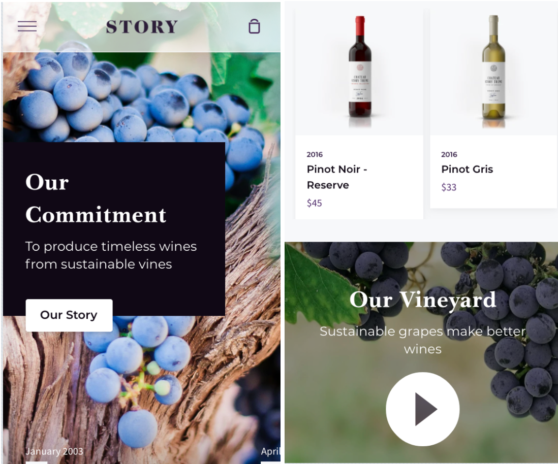 story mobile website template