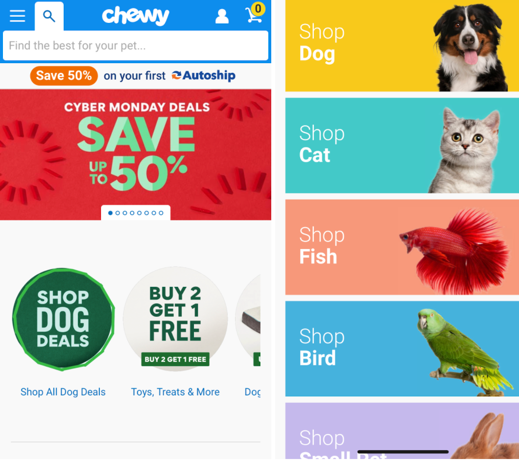 chewy mobile website
