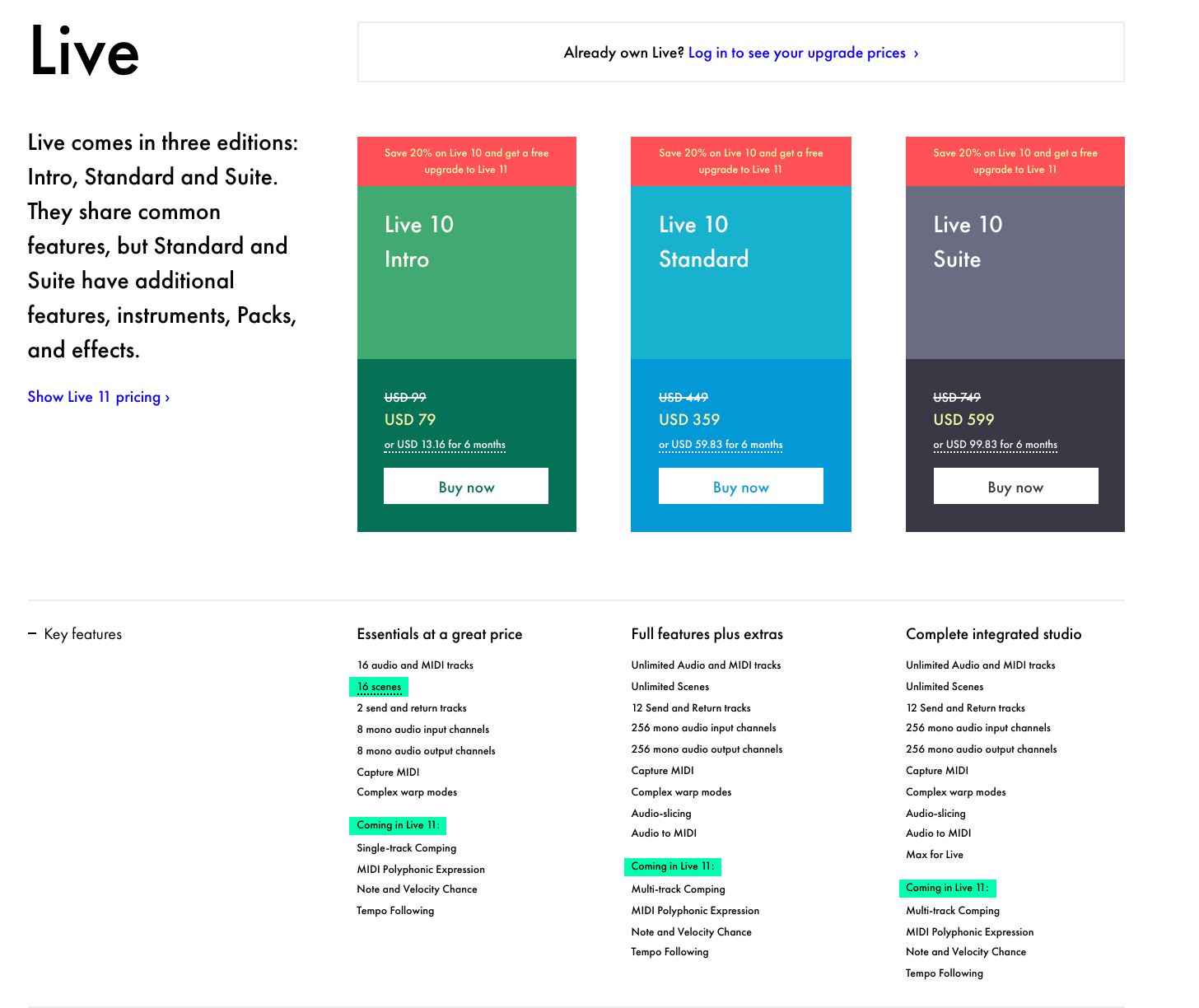 ableton live product page