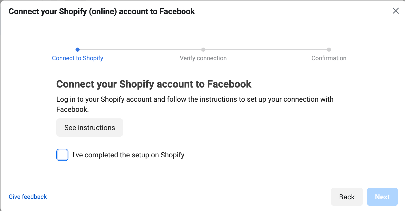 connect shopify account to facebook