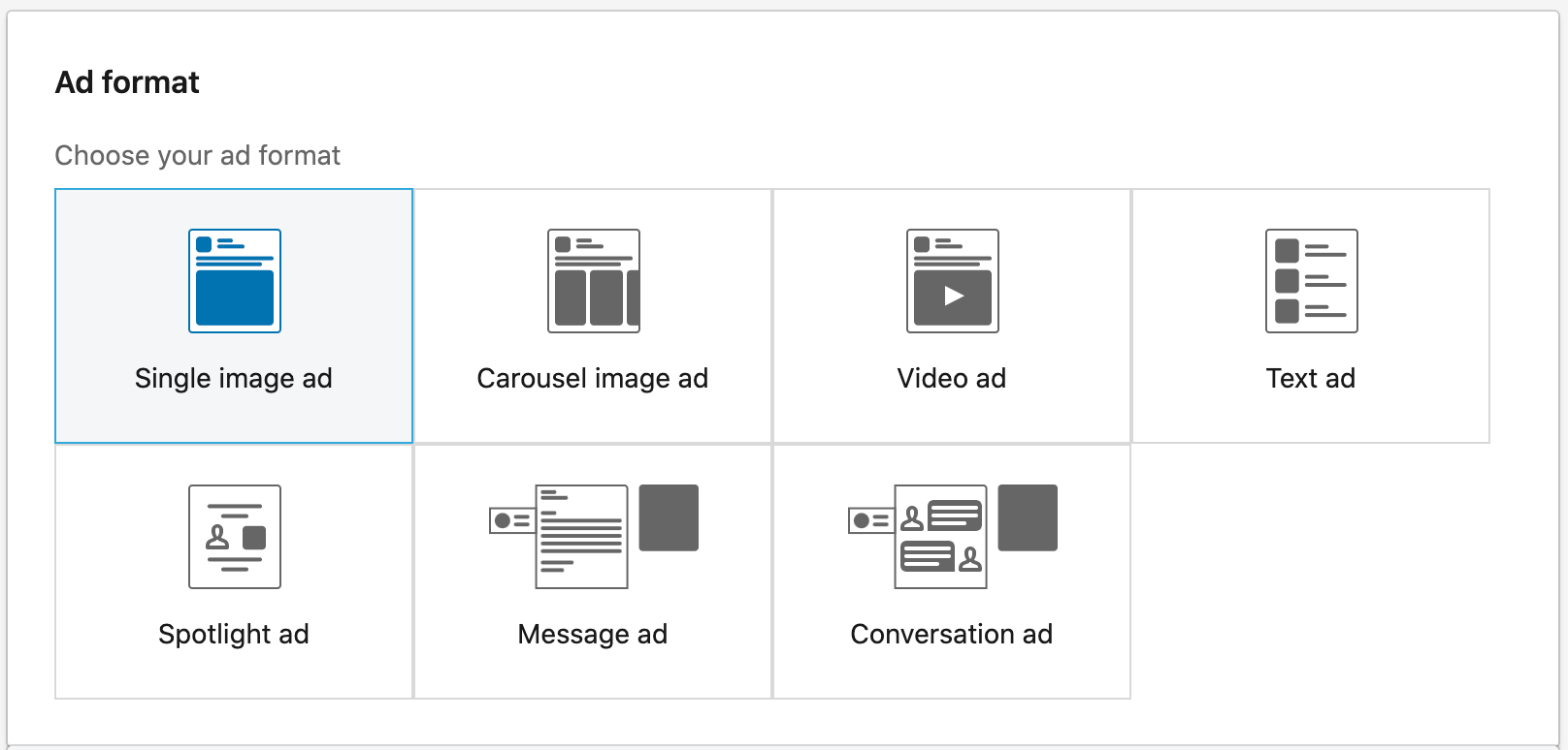 choose a type of ad