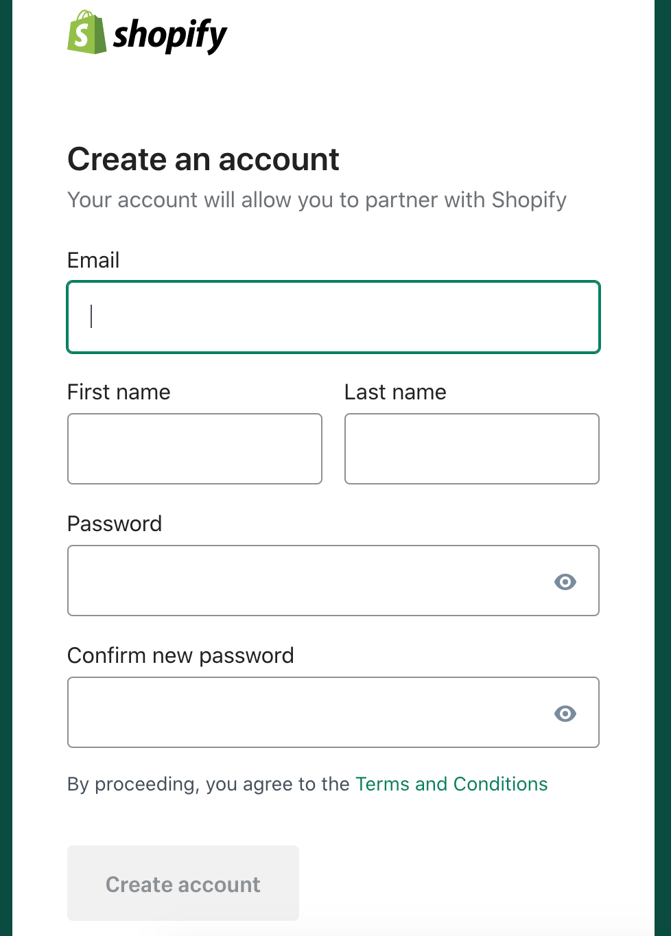 create a shopify account