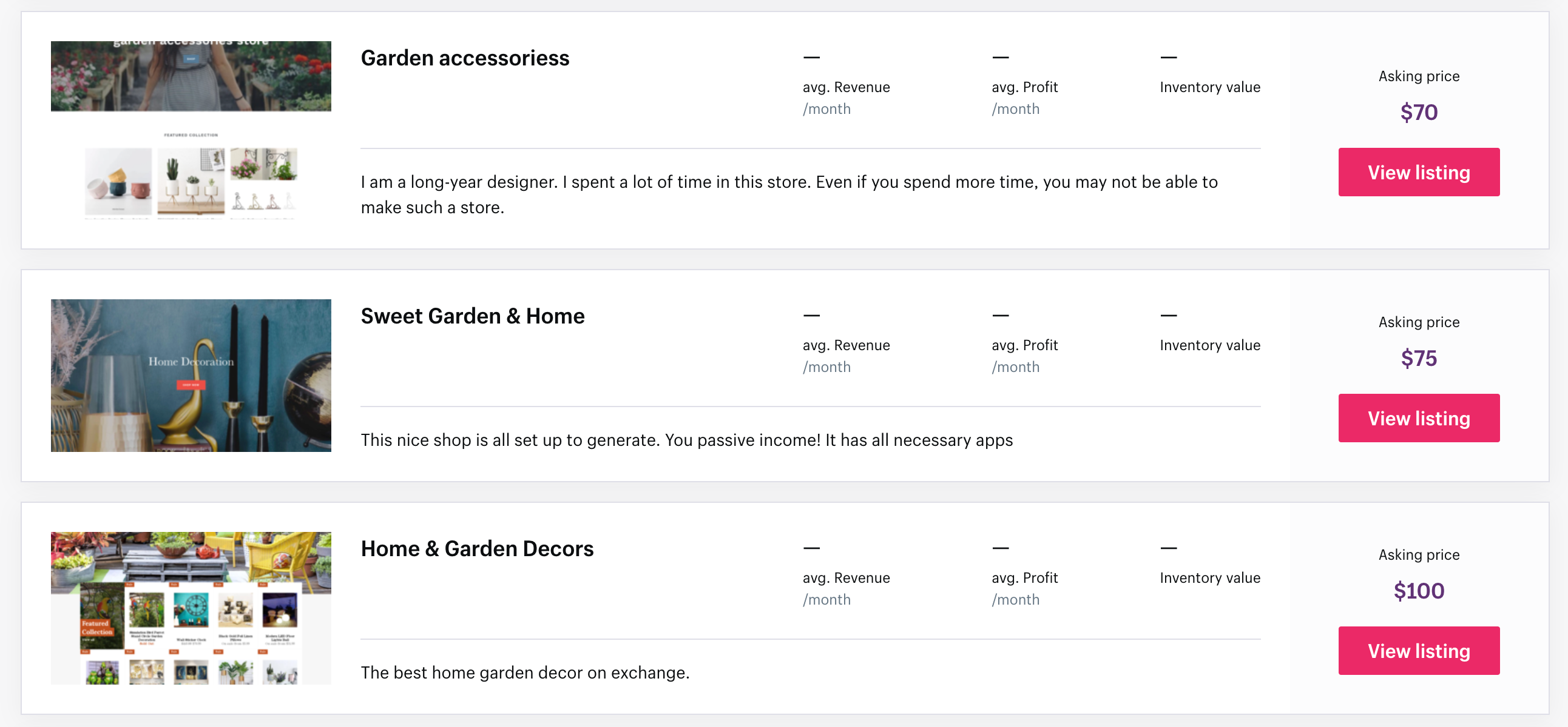 gardening stores Shopify Exchange