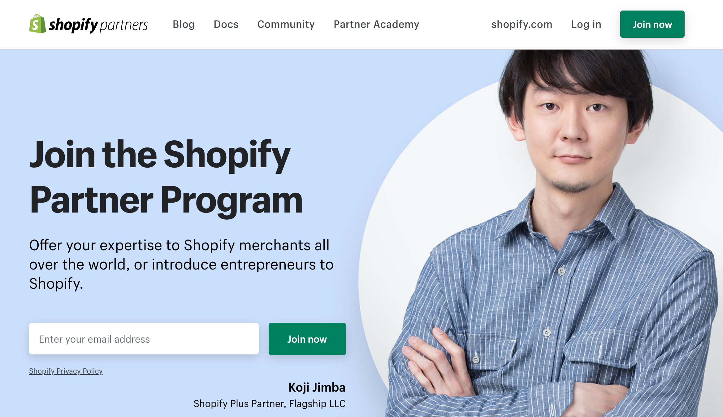 shopify partners website homepage