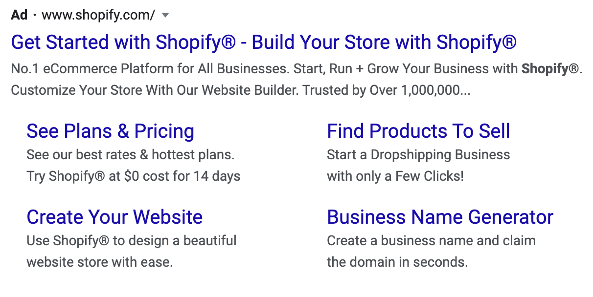 Google Search Ad example