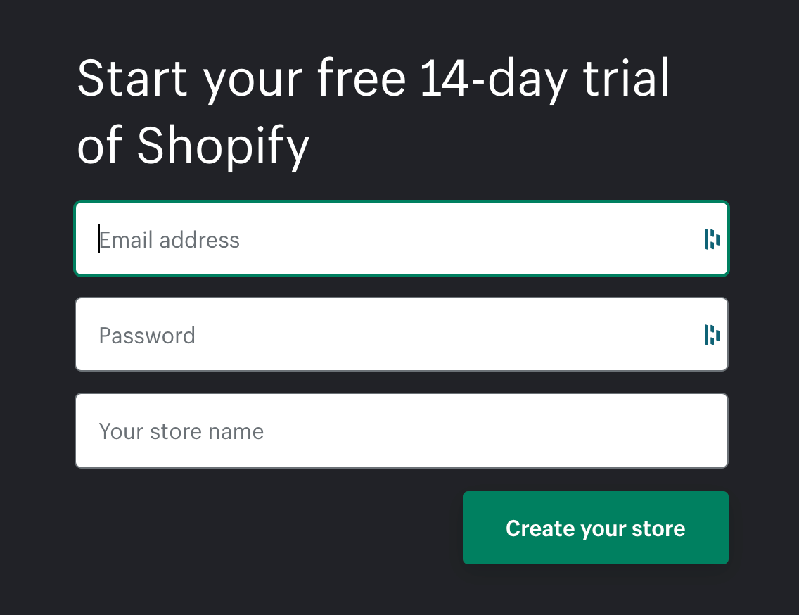 Shopify account creation