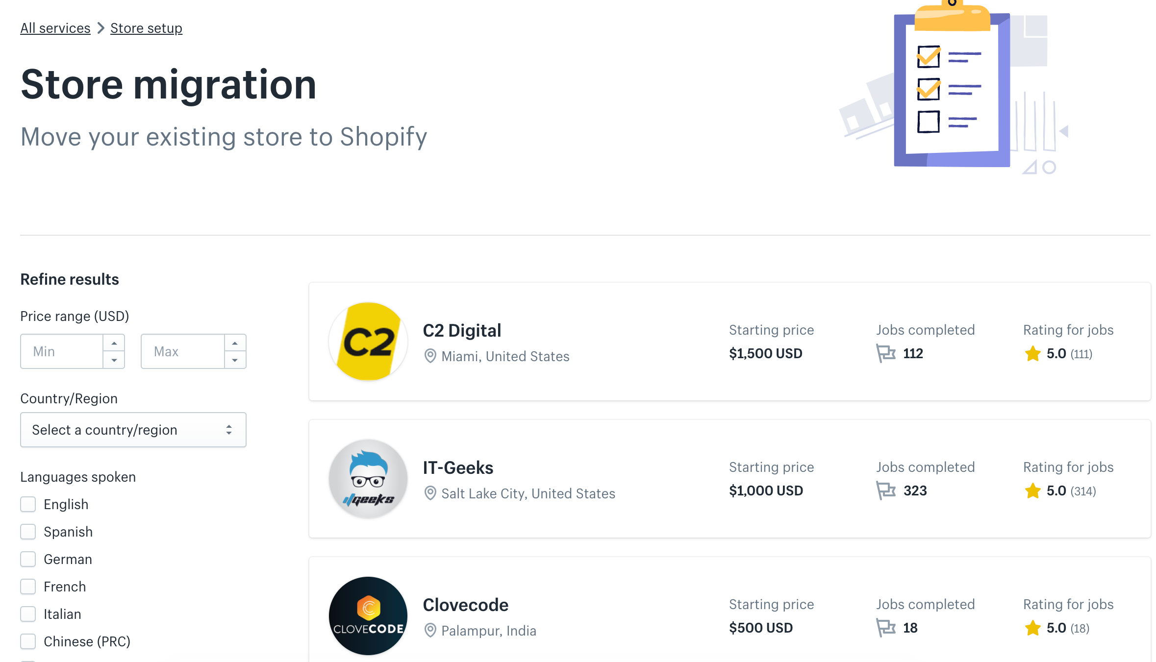 shopify experts results page