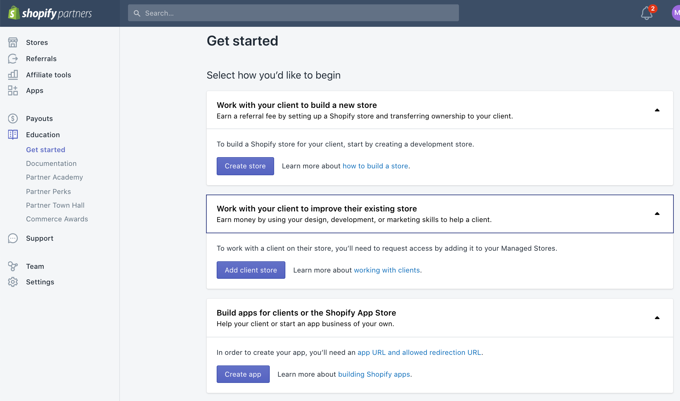 dashboard get started