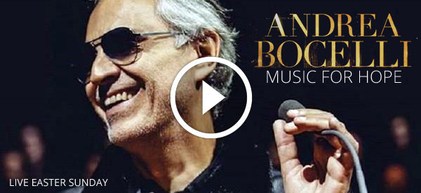 Watch Andrea Bocelli from the Duomo Cathedral in Milan, Italy