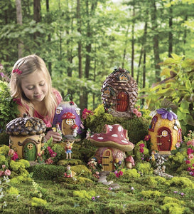 Miniature Fairy Garden Village: Set of 5 Fairy Houses & 10 Fairies