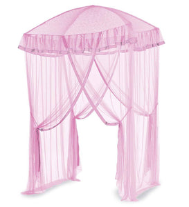 Sparkling Lights Canopy Bower for Kids Beds, in Pink