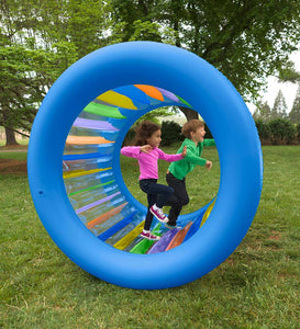 Roll With It! Giant Inflatable Colorful Rolling Wheel