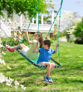 HearthSong Deluxe Platform Swing - Outdoor Rope Swing for Kids