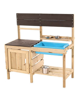 Mud Kitchen With Removable Splash Sink, Set of Stainless Steel Pans, and Whisk