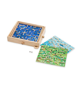Wooden Labyrinth Game With Three Interchangeable Game Panels