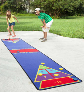 Shuffleboard Shuffle Zone Family Game Carpet with Cues and Pucks, 12'L