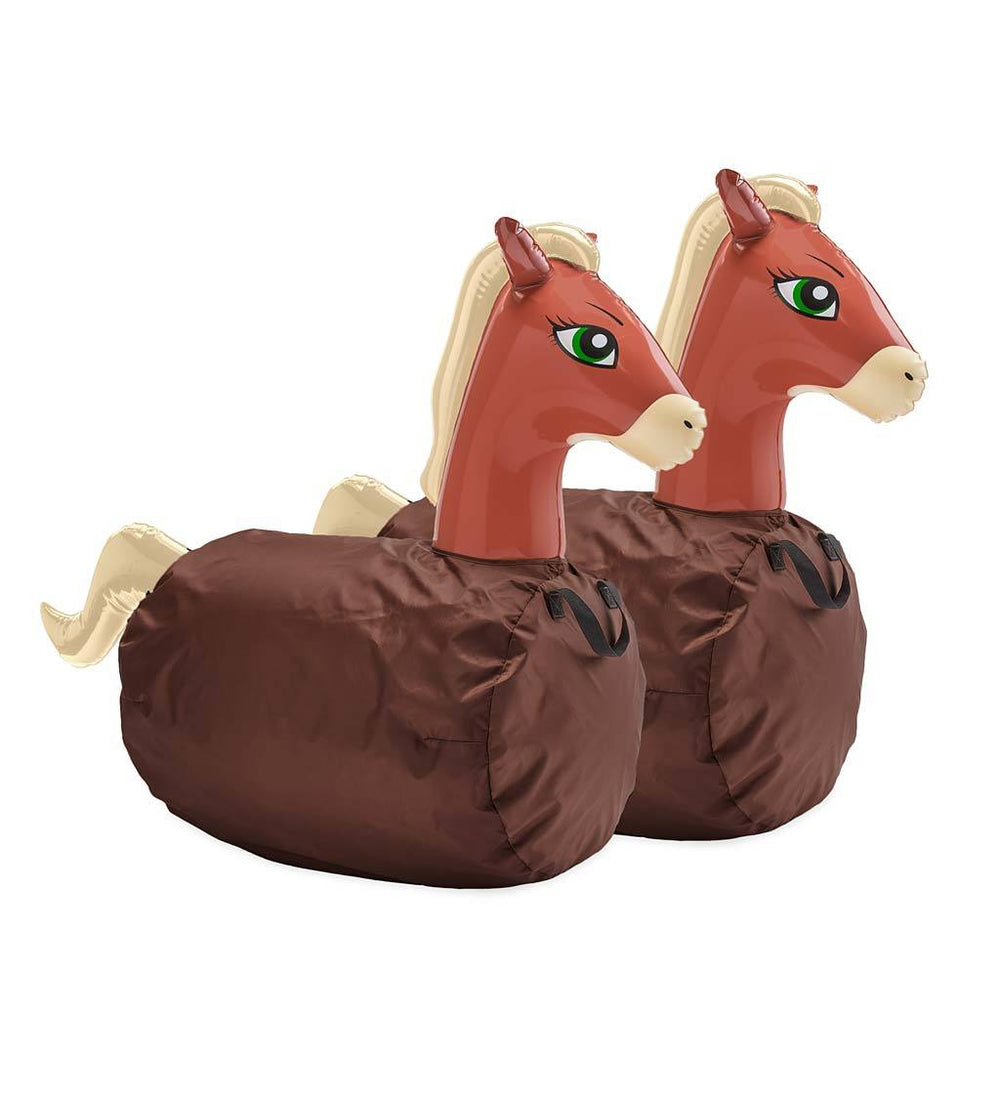 Inflatable Ride-On Hop 'n Go Horses with Weighted Bottoms and Protective Covers, Set of 2